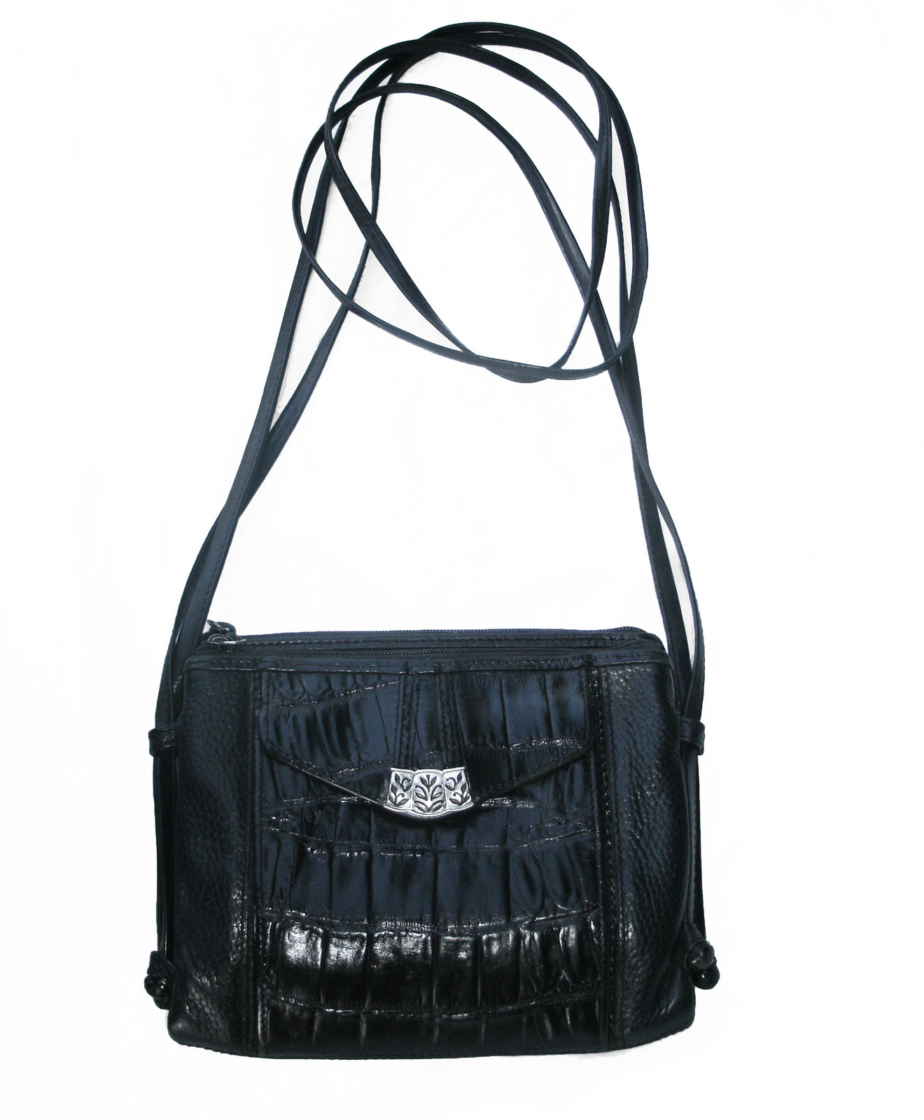 Brighton Croc and Pebbled Leather Cross Body Organizer Bag Black Silver Wallet