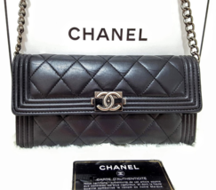 CHANEL Boy Lambskin Black/RHW Matelasses Flap Long Clutch WOC Crossbody Bag - $895.00