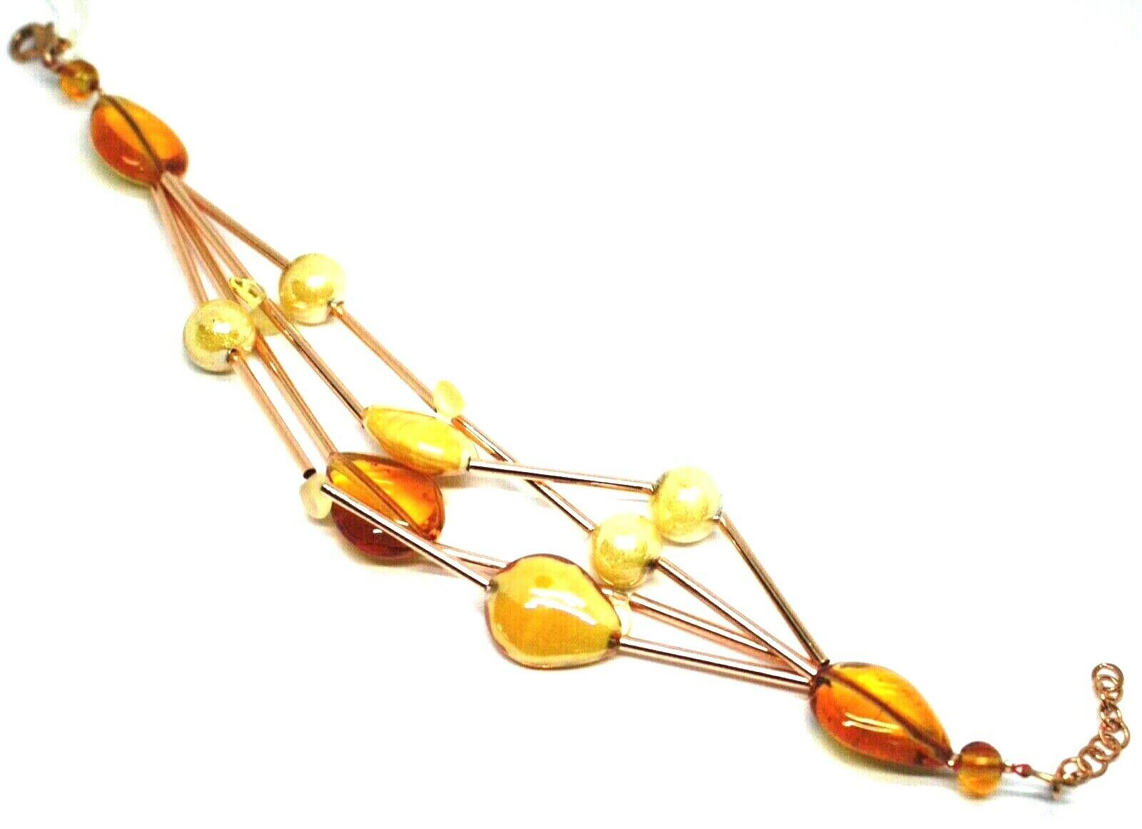 ROSE BRACELET MULTI WIRES TUBE ORANGE DROP SPHERE PETALS MURANO GLASS ITALY MADE