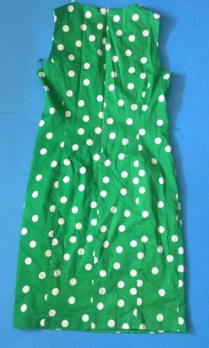 Anne Klein Green Polka Dot Pencil Dress Size 6 Zippered Pockets Fitted Classy image 3
