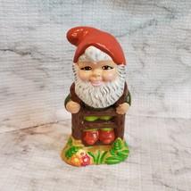 Vintage Garden Gnome, Fairy Garden Decor, Handpainted Ceramic Gnome on Ladder