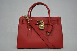 NWT Michael Kors EW Hamilton Saffiano Leather Satchel/Shoulder Bag in Re... - $249.00