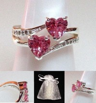 NEW #518 Ring Size 6 Simulated Pink Topaz Diamond Double Heart - $19.99