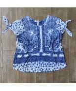 Plus Size ~ Blue and White Paisley Cold Shoulder Woman's Top XXXL 3X Time & Tru - $18.99