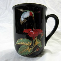 Vtg Otagiri Hummingbird Coffee Mug Tea Cup Gold Embossed on Black - $24.19