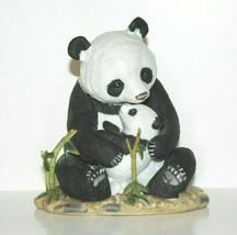 Panda Bear & Cub Homco Home Interiors Masterpiece Porcelain Figure Broken Bamboo - $15.67