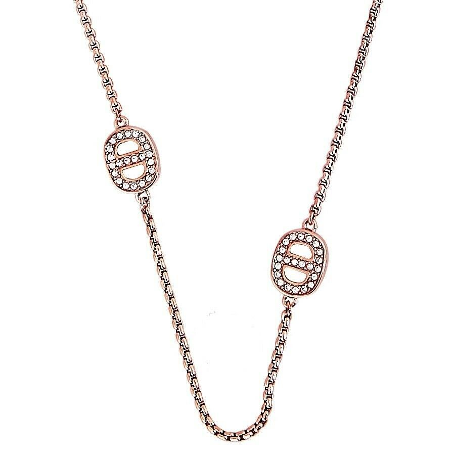 Primary image for Michael Kors Rose Gold Tone Mkj3991791 Crystal Maritime Station Necklace NWT