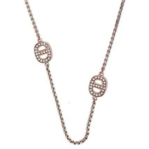 Michael Kors Rose Gold Tone Mkj3991791 Crystal Maritime Station Necklace... - $61.99