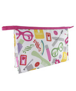 "Clinique ""Makeup Printed"" Pink Zipper Cosmetic Makeup Travel Bag - $4.50"