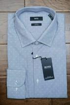Hugo Boss Men's Jesse Slim Fit Easy Iron Cotton Navy Striped Dress Shirt... - $71.27