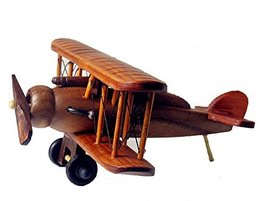Hornet Park Vintage Style Wooden Biplane Model Airplane Toy Home Bar Office Deco - $38.58