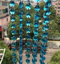 5M/Set 14mm Aqua Octagon Crystal Bead  Wedding Cake Decorative Garland Strand - $20.34