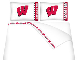Microfiber Sheet Set NCAA Wisconsin Badgers Bedroom Sheets TWIN FULL QUE... - $66.49+