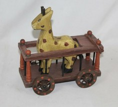 Vintage Early 20th Century Hand Carved Wooden Giraffe in Train Cage Zoo ... - $42.07