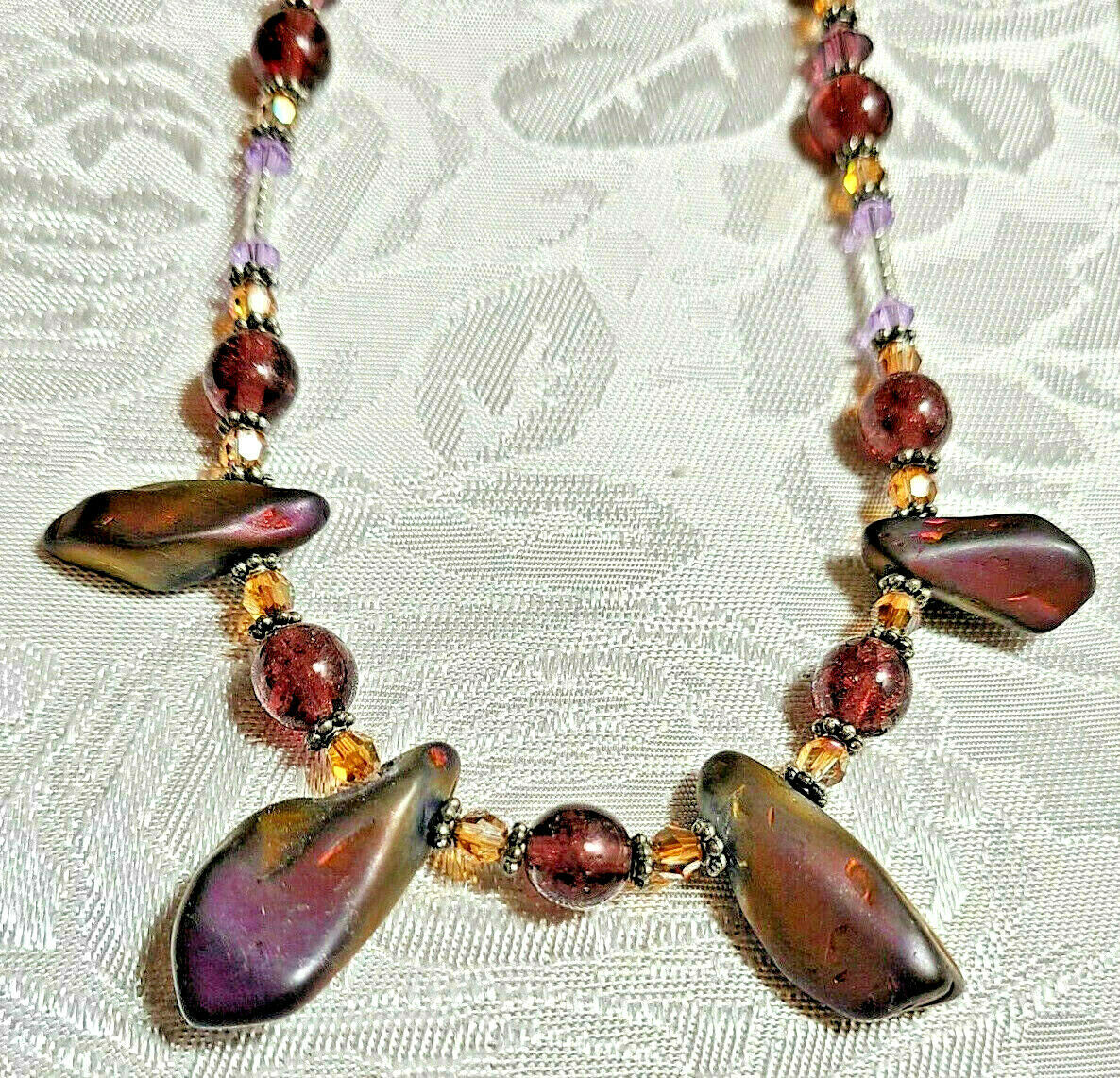 """Purple Amethyst Glass and Volcanic Rock Beaded Necklace 22""""           (#12)"""