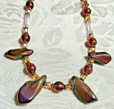"""Purple Amethyst Glass and Volcanic Rock Beaded Necklace 22""""           (#12) image 1"""