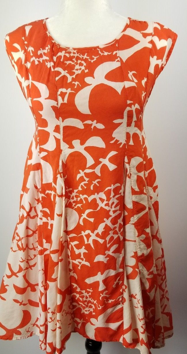 Anthropologie Maeve Indiga Swing Dress Orange White Bird Print XS