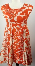 Anthropologie Maeve Indiga Swing Dress Orange White Bird Print XS - $49.49