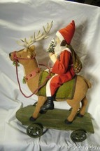 Bethany Lowe Vintage Santa Riding Reindeer image 1