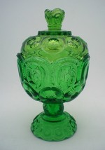 """VINTAGE GREEN L.E. SMITH 8"""" MOON AND STARS CANDY DISH WITH LID - $26.00"""