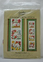 "Something Special Sleeping Cats Panel Counted Cross Stitch Kit 17.5"" x 33"" 1983 - $16.10"
