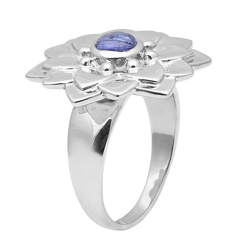 Flower !! Tanzanite Stone 925 Sterling Silver Ring Shine Jewelry Size-9 SHRI1433