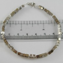 Bracelet Giadan Silver 925 Hematite Glossy and 8 Diamonds Black Made in Italy image 1