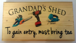 Large Grandads Shed (tea) Plaque / Sign - Garden Dad Gift Father Tools W... - $21.04