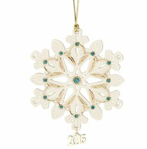 Lenox 2016 Gemmed Snowflake Ornament Annual Green Gold Crystals Christma... - $89.10