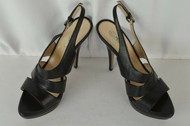 Prada High Heel Peep Toe Sling Back Black Stiletto Sandals Size 40 Leath... - $115.28