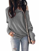 Womens Off The Shoulder Tops Lightweight Pullover Sweater Waffle Knit Casual Blo - $34.87