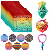 "12 Pack Gradient Rainbow Cotton Head Wrap Scarf Bandana Ombre Colors 22"" X 22"" image 1"
