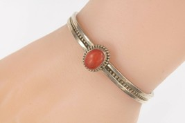 Gene Nataan Argent Sterling Rouge Corail Manchette Bracelet 15.7g - $186.97