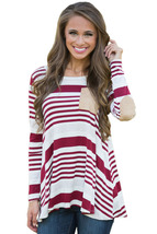 Burgundy Striped Patch Elbow Raglan Blouse  - $21.83