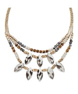 "PalmBeach Jewelry Grey Crystal Multi-Strand Gold Tone Necklace 18"" - $24.49"