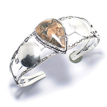 "Turrtella    925 Silver Overlay Jewelry Cuff-Bracelet 7"" Adjustable - $3.99"