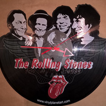 VINYL PLANET Wall Clock THE ROLLING STONES Home Record Unique Decor upcy... - $35.93