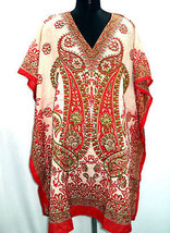 Short V-Neck Paisley Kaftan~Beach Kimono Caftan~Digitally Printed Top~Free Size - $9.49