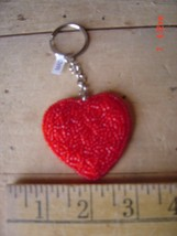Beaded Key Chain - RED HEART - LOVE - Lot of FIVE (5) - $17.81