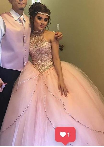 high-neck wedding dresses beaded ball bridal gowns sleeveless prom dresses,HH046