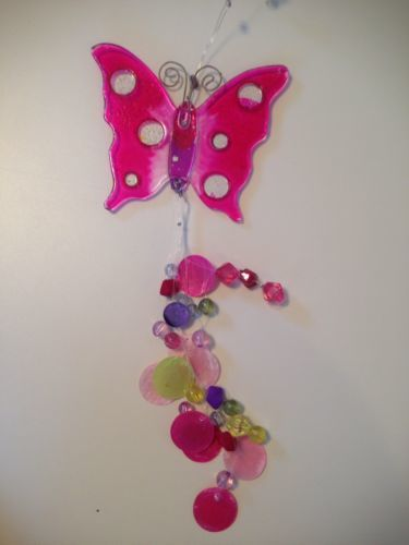 Vintage Hot Pink & Pink Beaded Butterfly Butterflies Hanging Decoration Rare