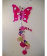 Vintage Hot Pink & Pink Beaded Butterfly Butterflies Hanging Decoration ... - $15.99