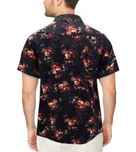 Men's Cotton Short Sleeve Casual Button Down Floral Pattern Dress Shirt image 3