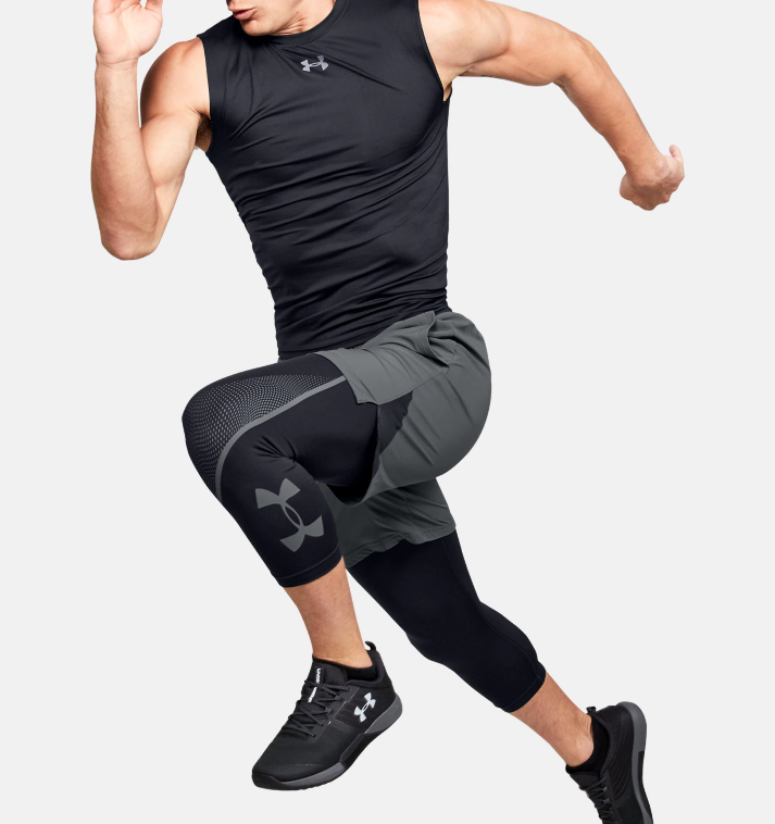 Primary image for Under Armour Men's HeatGear Armour ¾ Graphic Leggings 1351821-001 Black/Gray NWT