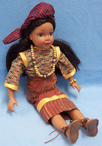 COLLECTIBLE PORCELAIN DOLL INDIA DRESS BROWN HAIR EYES - $13.85