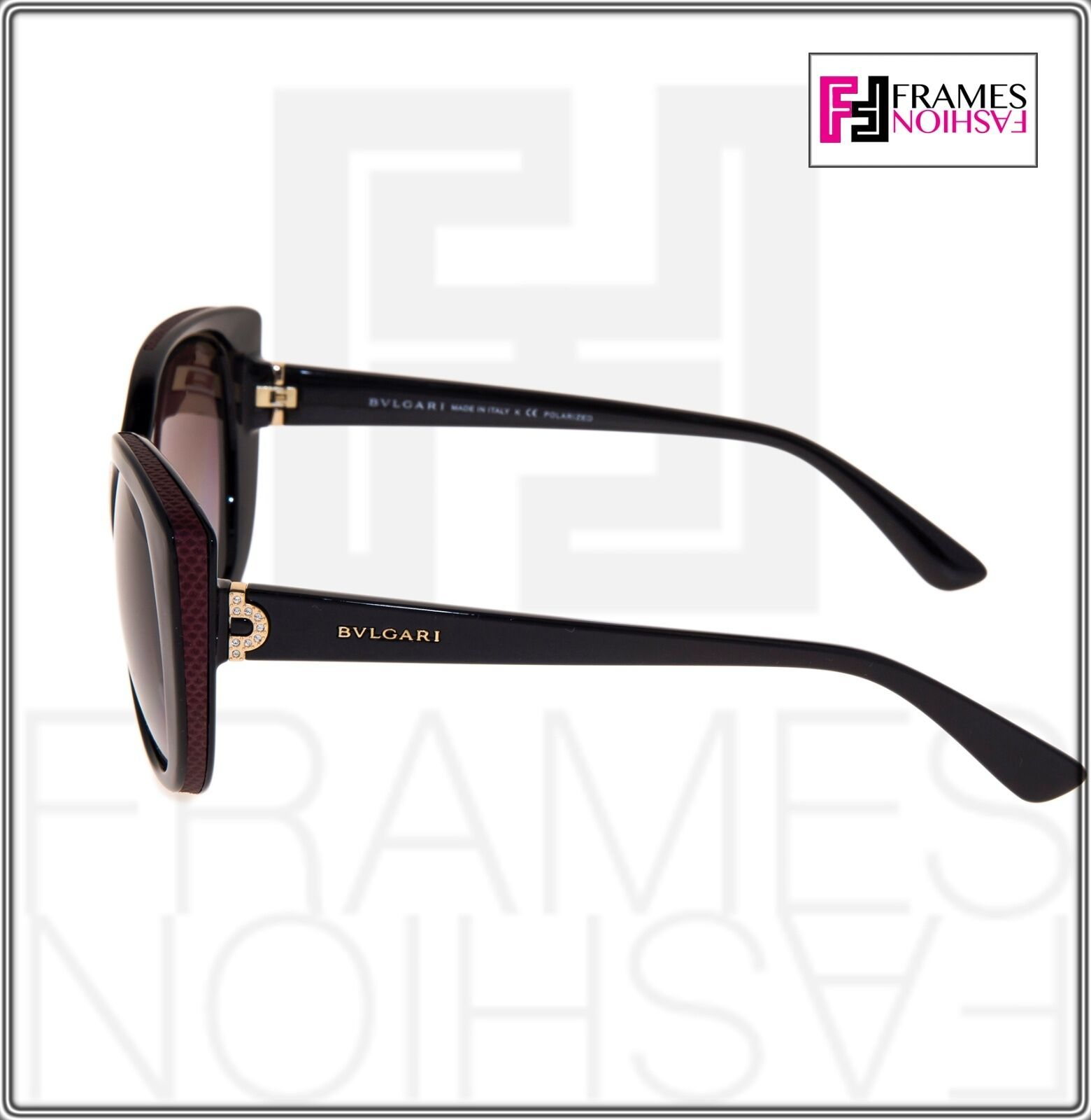 BVLGARI LOGO BV8157BQ Black Burgundy Leather Violet POLARIZED Sunglasses 8157 image 2