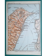 ITALY Sicily Messina Strait & Environs - 1911 BAEDEKER MAP - $12.60