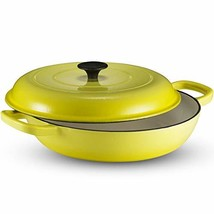 Klee Enameled Cast Iron Casserole Braiser Pan with Lid, 3.8 Qt, 12-Inch Yellow