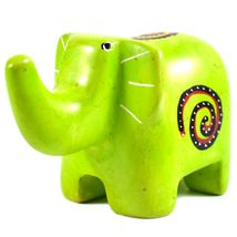 SMOLArt Hand Carved Soapstone Lime Green Elephant Figurine Made in Kenya image 5