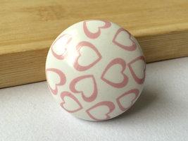 Dresser Knob Drawer Knobs Pulls Handles White Pink Heart Kitchen Cabinet Knobs image 1